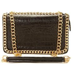Ophelia Black Chain Detail Bag ($20) ❤ liked on Polyvore featuring bags, handbags, shoulder bags, black, shoulder strap handbags, chain shoulder bag, crocodile purse, chain purse and croc handbag