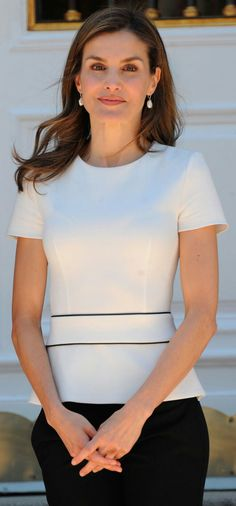 Letizia - Hugo Boss peplum top - Tous earrings