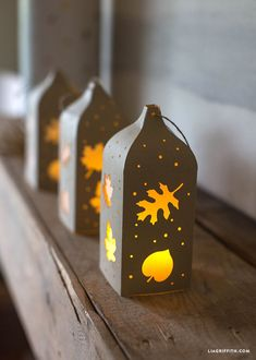 Fall Paper Cut Lantern Vellum Paper, Paper Art, Paper Cutting, Leaf Cutout, Make Your Own, Make It Yourself, Fete Halloween, Arts And Crafts, Diy Crafts