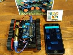 Intel Arduino 101-based tank using Bluetooth Low Energy to communicate with a Blynk remote control on your phone. By Johnathan Hottell.