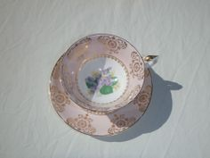 Shabby Chic Vintage Royal Grafton Tea Cup  Saucer Pink and white with Gold decor and violets at base of cup