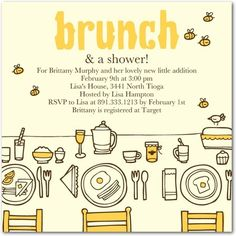 Baby Shower Invitations Luscious Brunch - ham tomato strata