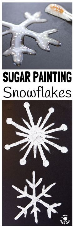 WINTER ART SUGAR PAINTING is perfect for making snowflakes and snowman painting. Sugar painting has a glossy, sparkly, frosty appearance great for Winter painting activities for kids. #painting #paintingideas #art #kidsart #artforkids #winter #winterart #winteractivities #snowflakes #snowflakeart #kidspainting #paintrecipe #diypaint #sugarpainting #kidsactivities via @KidsCraftRoom