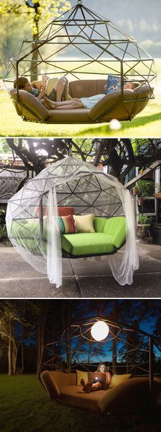 Geodesic hanging dome