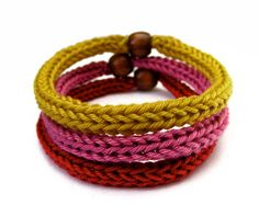 French Knitted Bracelet - Set of 3 - Handmade to order - Choose your own Colors & Beads