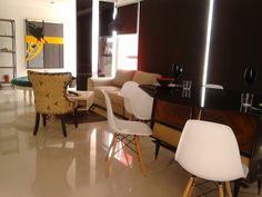 Sala, comedor y estudio, decoración ecléctica vanguardista
