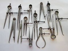 SALE - 13 antique CALiPERS and DiViDERS - antique tools - STARREtt, LUTZ, measuring, gauge, cartography.