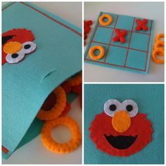 Sesame Street Tic Tac Toe Game Set Elmo game par twinsandcrafts, $35.00