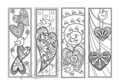 Sweet bird with hearts Coloring Bookmarks Page Instant Heart Coloring Pages, Colouring Pages, Coloring Books, Kids Coloring, Doodle Drawings, Doodle Art, Mandala Design, Hobbies For Adults, Gravure Laser