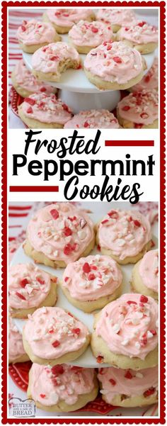 Frosted Peppermint Cookies are soft, pillowy cooki…