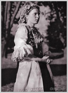 Young girl in Slovakian traditional costume.