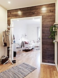 "Every time I see photos of wood walls, I love them a little more. MUST do this in the man cave!!  Or in the ""Little Man Cave"" instead of that brick/stone wall for Little Man's nursery, I could do these rustic looking wood walls. Love it."
