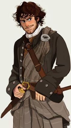 """""""the animated life's"""" cartoon Jamie Fraser. I love how the essence of cheeky Jamie is caught here."""