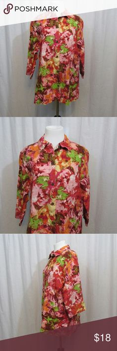 """Chico's Pink Multicolor Linen Spring Top 2 L Brand: Chico's Size: 2 Material: 100% Linen Care Instructions: Machine Wash  Bust: 42"""" Sleeves: 16"""" Length: 27""""  All clothes are in excellent used condition. No tears, stains or holes unless otherwise I noted.   P23 Chico's Tops Blouses"""