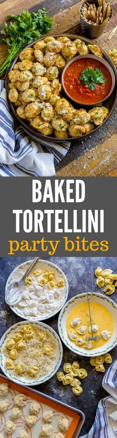 TORTELLINI PARTY SNACKS are easy appetizers for game day, movie nights and festive parties. This baked tortellini recipe is so darn scrumptious! Baked Tortellini Recipes, Tortellini Bake, Cheese Tortellini, Pasta, Game Day Appetizers, Easy Appetizer Recipes, Finger Food Appetizers, Healthy Recipes, Cooking Recipes