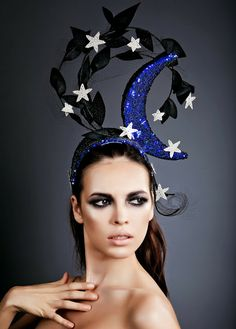 "Moon and star crown by Millinery Atelier. The ""Starfall"" originally was created as a part of my ""Sanctum"" Collection back in 2012 and actually got its shining moment walking the runway at ""Triumvirate Of Seduction"" fashion show by Leonid Gurevich."
