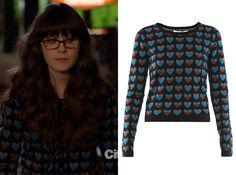 Jess Day (Zooey Deschanel) wears a heart print cardigan over her pajamas when she picks Cece up in New Girl season 1 episode 5 'Cece Crashes...