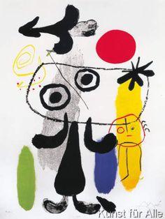 Joan Miró - Figur gegen rote Sonne II, 1950