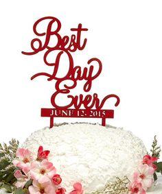 'Best Day Ever' Custom Date Wooden Cake Topper