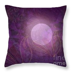 Purple Moon Throw Pillow by Mary Rush Gravelle