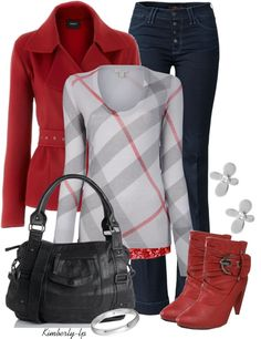 """Burberry Plaid"" by kimberly-lp on Polyvore - not the jacket...and maybe the shoes in black instead..."