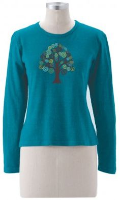 Earth Creations - Tree Of Life With Birds on Long Sleeve Top, 55% hemp and 45% organic cotton at $40.50