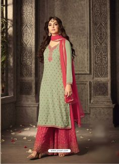 Looking to buy salwar kameez? ✓ Shop the latest dresses from India at Lashkaraa & get a wide range of salwar kameez from party wear to casual salwar suits! Sharara Designs, Kurti Designs Party Wear, Lehenga Designs, Latest Salwar Suit Designs, Pakistani Dresses Online, Indian Dresses, Indian Outfits, Pakistani Suits, Punjabi Suits Party Wear