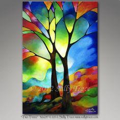 Leinwand-Giclée-Druck von meinem ursprünglichen abstrakte Landschaft-Baum, Malerei, geometrische Kunst, zwei Bäume Baum Art Glasmalerei Bäume Sally Trace