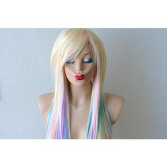 Scene Wig Blonde Pastel Rainbow Color Wig Emo Wig Durable Heat... ($250) ❤ liked on Polyvore featuring beauty products, haircare, hair styling tools, bath & beauty, black, hair care and wigs