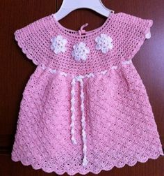 Pink Dress with White Flowers Baby Dress free crochet graph pattern