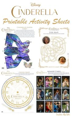 Cinderella Printable Activity Sheets - perfect for a variety of Disney craft projects!
