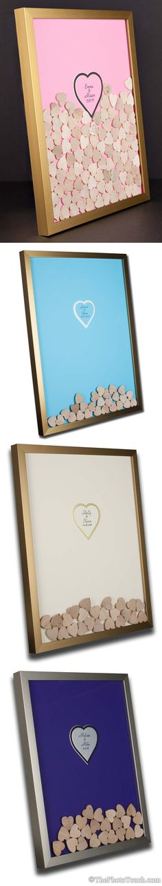 Wedding guest book alternative. Wooden hearts drop in frame. by WeddingGuestBookCo.com