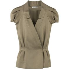 Oscar de la Renta Silk-blend jacket (2.685 VEF) ❤ liked on Polyvore featuring outerwear, jackets, tops, blusas, puff sleeve jacket, wrap jacket, brown jacket, oscar de la renta jacket and oscar de la renta