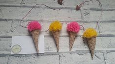 Check out this item in my Etsy shop https://www.etsy.com/uk/listing/522588800/ice-cream-bunting-pompom-bunting-mini
