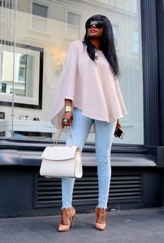 Stylish maje poncho, sergiorossi bag, Casadei heels , Zara jeans Fashion Look by touchbymaya