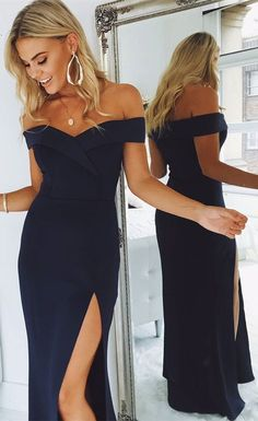 gorgeous 2018 prom dress, off the shoulder navy blue mermaid long prom dress with side slit, formal evening dress, graduation dress #Graduationdresses