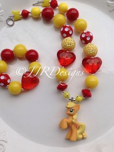 "My Little Pony Inspired Girl Necklace- ""Applejack"" Chunky-Bubble Gum Necklace"