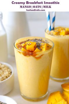 This breakfast smoothie is packed with the goodness of fresh mangoes and oats. Learn how to make mango oats smoothie in a few simple steps. Healthy Breakfast Choices, How To Make Breakfast, Breakfast Recipes, Oat Smoothie, Smoothie Recipes, Smoothies, Fun Food, Good Food, Yummy Food