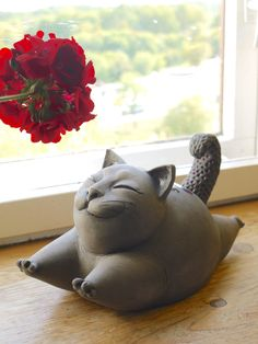 Ceramic Cat Sculpture - Black Funny Cat Figurine, Fine Art