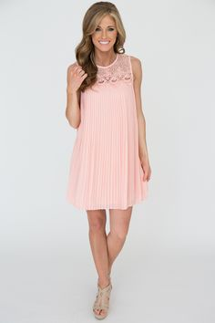 d505117ca38 Lace Top Pleated Sleeveless Dress - Light Pink - Magnolia Boutique Magnolia  Boutique