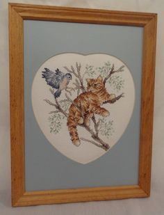 New Cat Tree Bluebird Framed Picture Heart Handmade Finished Cross Stitch Tabby in Collectibles, Animals, Cats | eBay