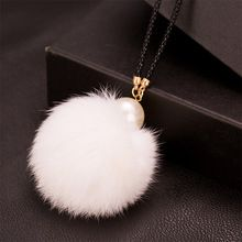 Women Clothing Accessories Mink Fur Pompom Ball Pendant Necklace For Women Winter Sweater Chain Choker Necklace