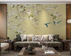 Shabby chic vintage chinese oiseaux arbres papier peint jaune turquoise noir taupe rose
