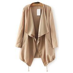 With Drawstring Khaki Coat ($20) ❤ liked on Polyvore