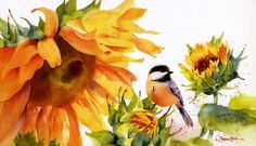 Sunshine on My Shoulders - Chickadee & Sunflowers - watercolor by Susan Crouch