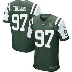 Men's Nike New York Jets #97 Lawrence Thomas Elite Green Team Color NFL Jersey