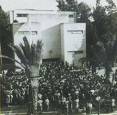 Crowd outside Dizengoff House (now Independence Hall) to hear declaration and signing of Israel's Declaration of Independence in 1948