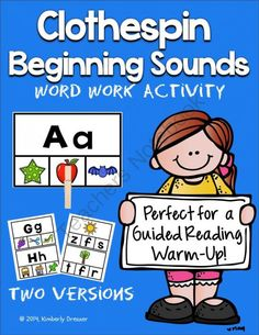Beginning Sounds Clothespin Game. Word Work or Guided Reading Activity! from Kimberly's Kindergarten on TeachersNotebook.com - (29 pages) - This is a great word work game where students identify the beginning sound in pictures and clip a clothespin to the correct picture or letter (or cover with a Bingo chip).
