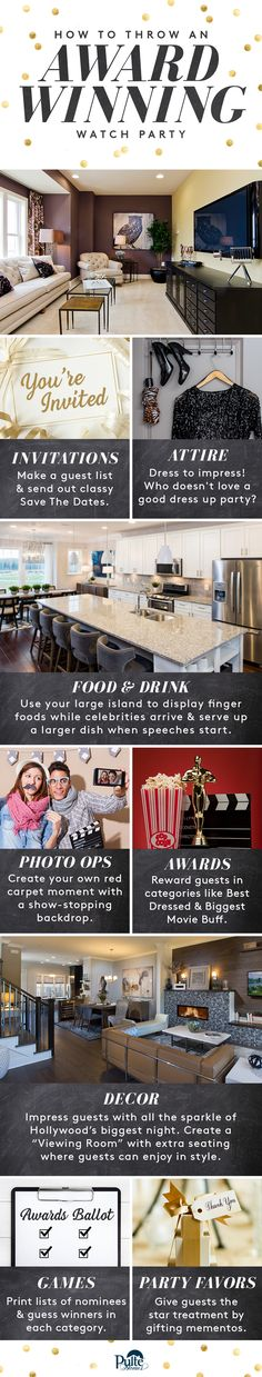 Roll out the red carpet for family and friends! Pulte's spacious open-floor plans make it easy to host an award-winning Oscar® watch party full of A-list food, games, decor and more. | Pulte Homes