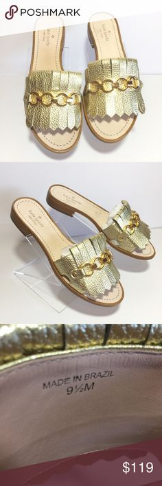 NWOT Kate Spade ♠️ Metallic Gold with Chain Slipon These are in Excellent Condition, No Box, Pair With Your Favorite Dress♥️ kate spade Shoes Sandals